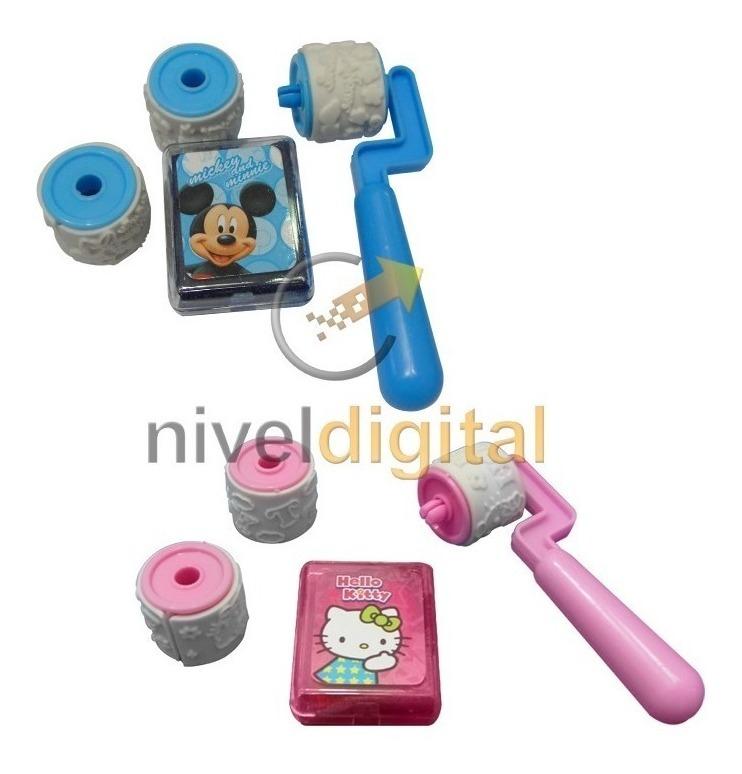 Kit X 2 Juegos Sellos Mickey Kitty Roller Stamp Almohadilla