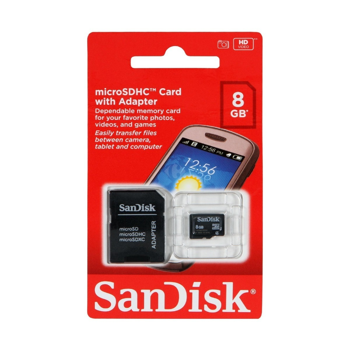 Memoria Micro Sd Sandisk 8gb Clase 4 Con Adaptador Original