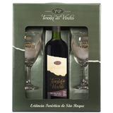 Kit Vinho Bordô com 2 Taças e Embalagem Presente - Adega Terra do Vinho