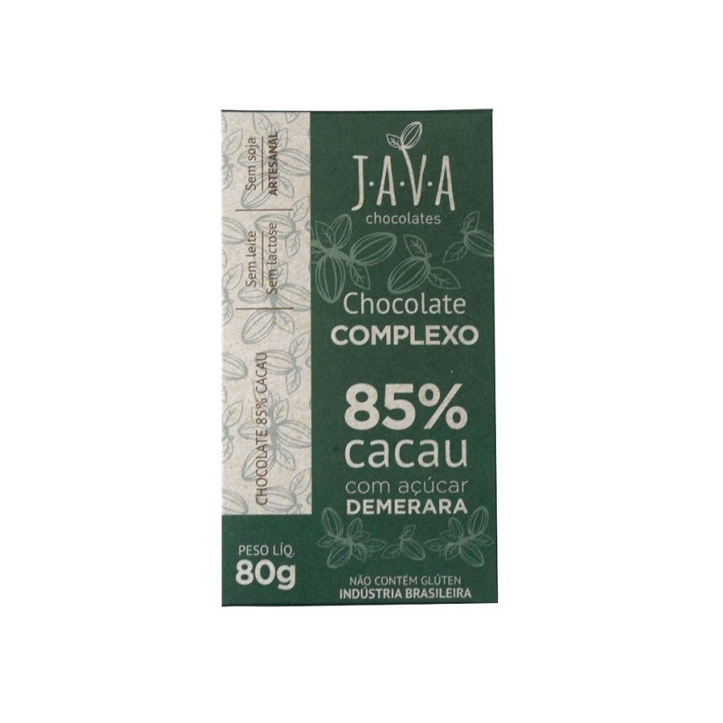 Chocolate Complexo 85% Cacau com Acucar Demerara 80g - Java