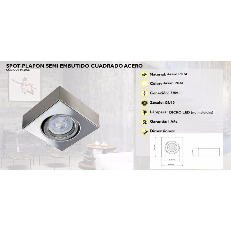 Plafon Semi Acero DESINGSpot Cuadrado LUZ Movil Led Gu10 CoQrdexBEW