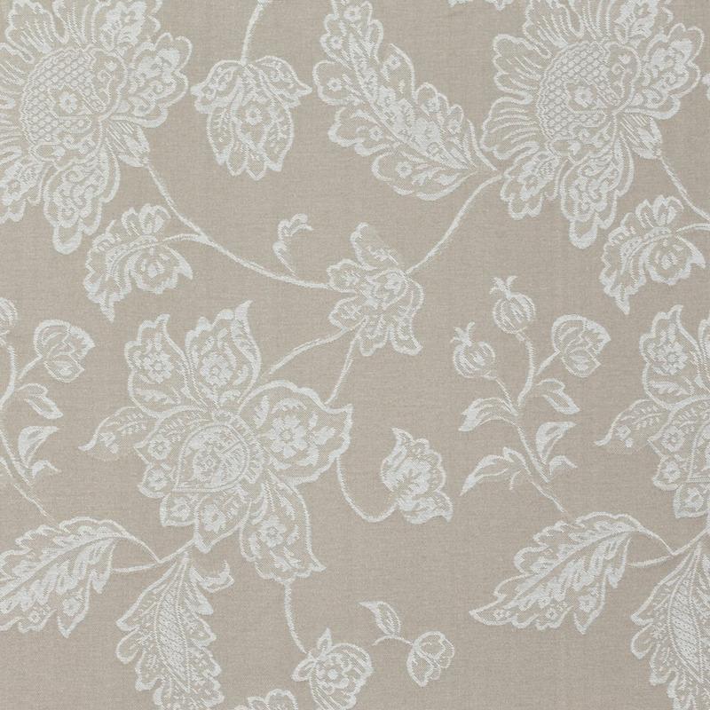 Tecido jacquard  floral em ramos - bege/branco - Impermeável - Coleção Panamá