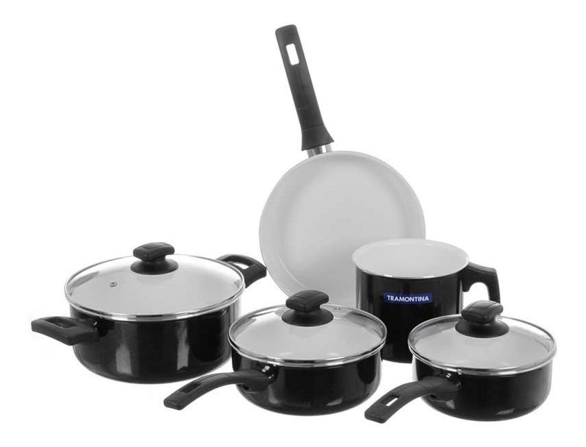 Bateria Cocina 5 Pz Tramontina Quebec Negra Antiadh Ceramica
