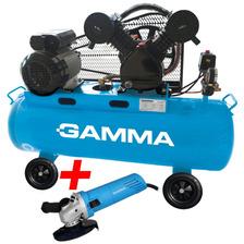 Compresor Aire 100 Litros 3hp Bicilindrico Gamma + Amoladora
