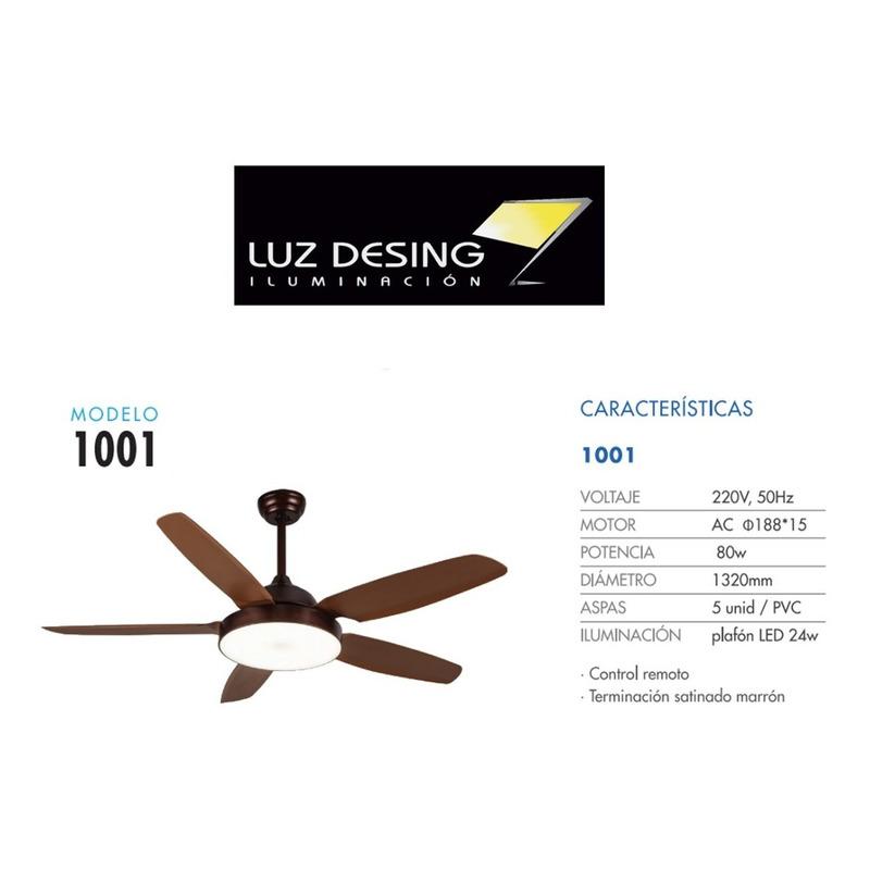 Ventilador Techo Luz Led Control Remoto 1001 Timer Ax