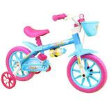 Bicicleta Infantil Nathor Aqua Aro 12 Feminina Com Cestinha