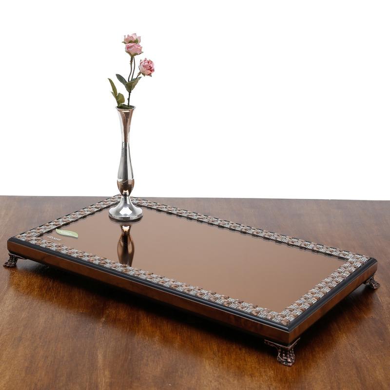 Bandeja De Madeira Com Pe e Espelho Diamond Preta E Marrom - Woodart 31012643