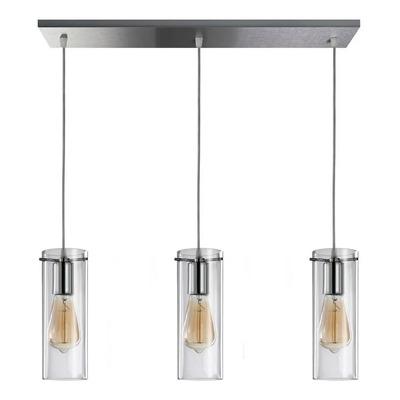 Colgante 3 Luces Cromo Deco Apto Led Cilindro Transparente