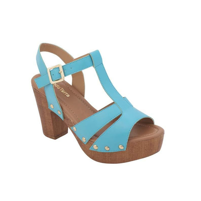 Sandalia tacón azul  017130