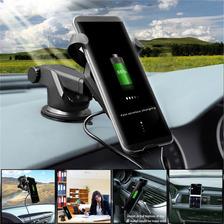 Cargador Soporte Auto Ventosa Rejilla Fast Wireless Charger