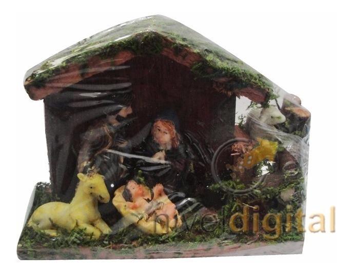 Pesebre 5 Piezas Establo Madera Navidad Decoracion