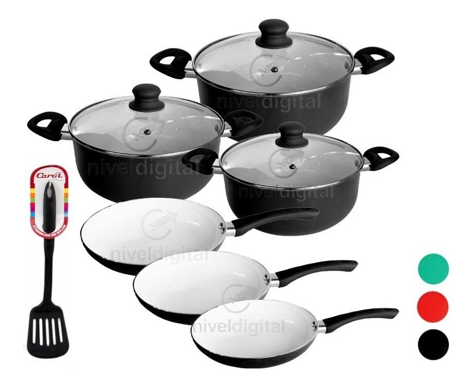 Set Bateria Cocina 9 Pzs Carol Ceramica Antiadhe + Espatula