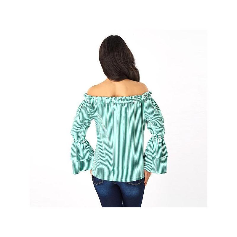 Blusa rayada verde hombro caído 019219