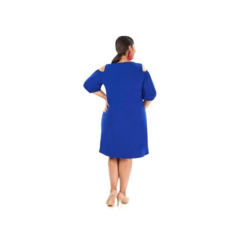 Vestido corto azul con olán 019235