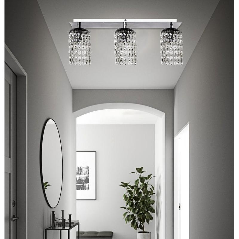 Araña Plafon Cairel Cromado Lineal Lyon 3 Luces Deco Moderno