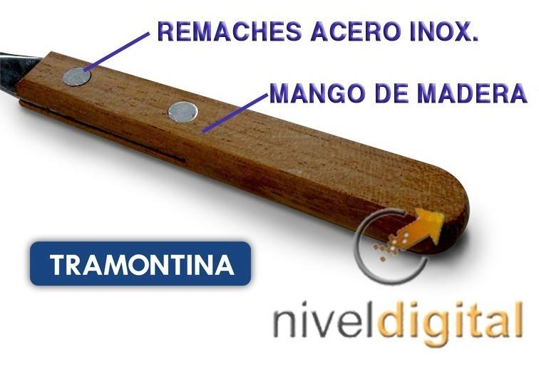 6 Cuchillos Tramontina Dynamic Acero Inoxidable Mango Madera