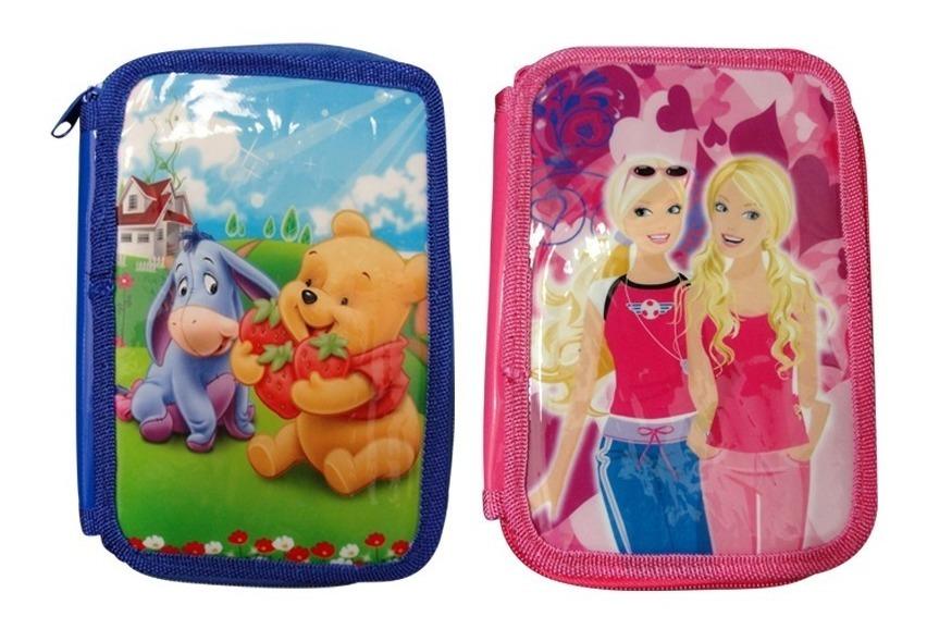 Cartuchera 2 Pisos Escolar Nene Nena Barbie Winnie Pooh
