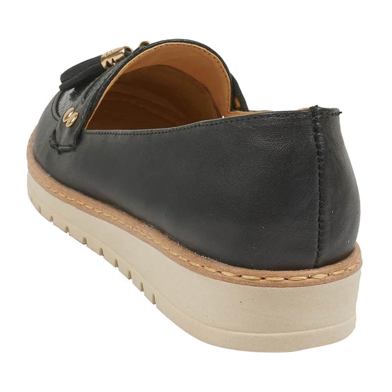 Flats negros con flecos 016678