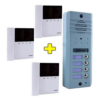 Kit Portero Visor Commax Lcd 3 Timbres Departamentos Ph Dtos