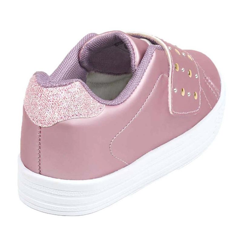 Sneakers rosas con brillos y broche 018846