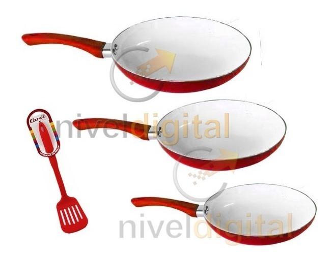 Kit 3 Sartenes Carol Ceramica 22 26 30 Cm + Espatula Regalo