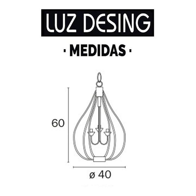 Lampara Colgante Jaula Araña 3 Luces Vintage Apto Led E27 Fz