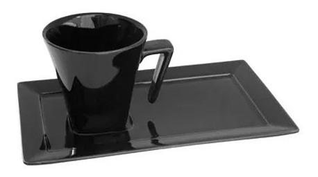 8 Tazas 200 Ml Porcelana Negra Plato Rectang Oxford Te Cafe