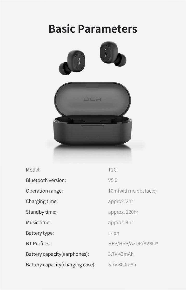 Auriculares Qcy T2c Bluetooth 5.0 Tws Inalambrico + Cuotas