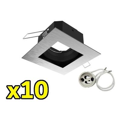 Pack X 10 Spot Embutir Antideslumbrante Acero Sin Lampara