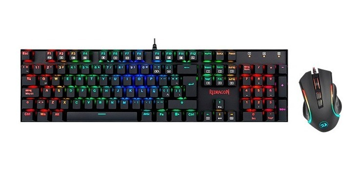Combo Kit Redragon K551rgb-ba Teclado Mouse Rgb Gamer