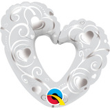 globo corazon plata 105cm desinflado apto helio/aire