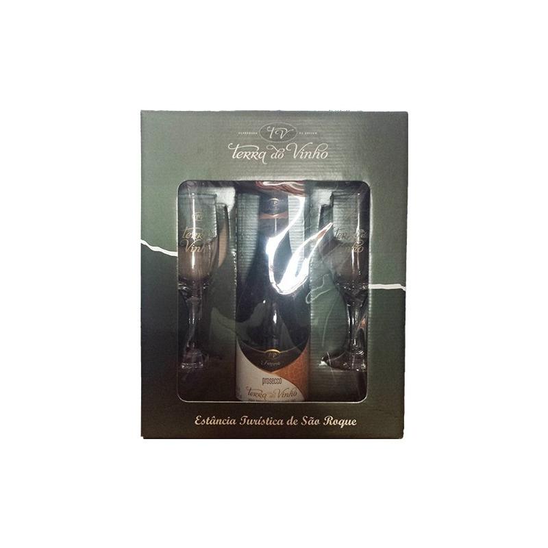 Kit com 2 taças + 1 Vinho Frisante Prosecco - Adega Terra do Vinho
