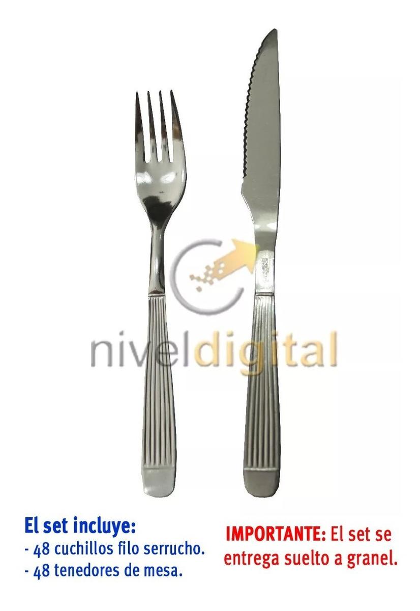 Set 96 Cubiertos Carol Cuchillo Serrucho Tenedor Acero Inox