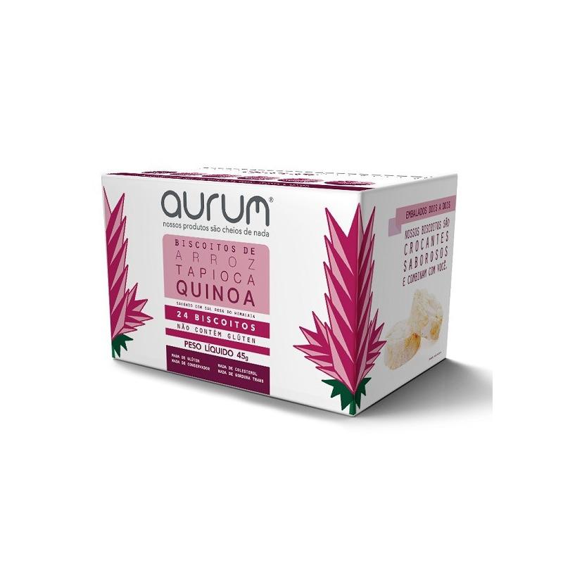 Biscoito de Arroz com Tapioca Quinoa Sal Rosa - 45g Aurum
