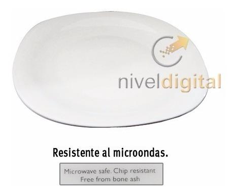 Set 6 Platos Playo Cuadrado 27cm  Vidrio Blanco P/ Microonda