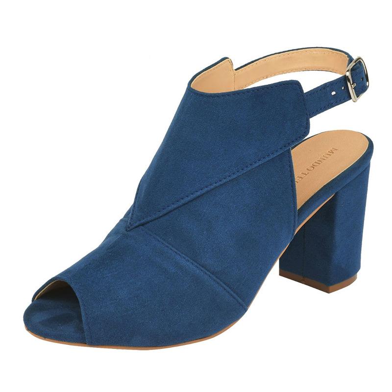 Sandalia tacón azul gamuza  016463