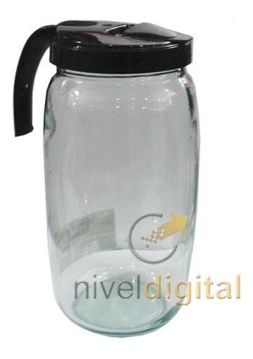 Jarra De Vidrio 2 Litros Con Tapa Plastica Vertedor Manija