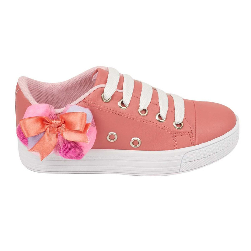 Sneakers rosas con moño lateral 018632