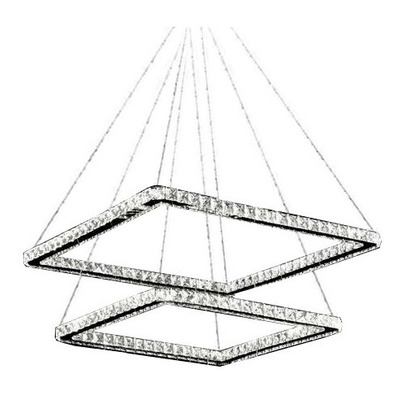 Lampara Colgante 2 Aros 60w Led Cristal Cuadrado Moderno Vs
