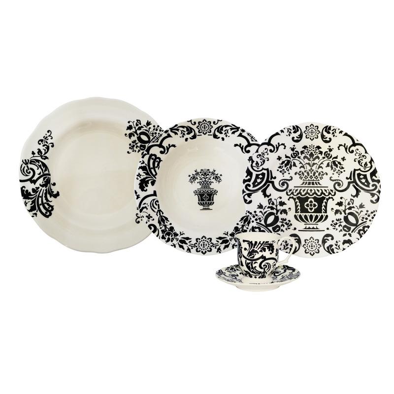 Jogo de Jantar 30 Peças Porcelana  Sevilla Black - L'Hermitage 7520748