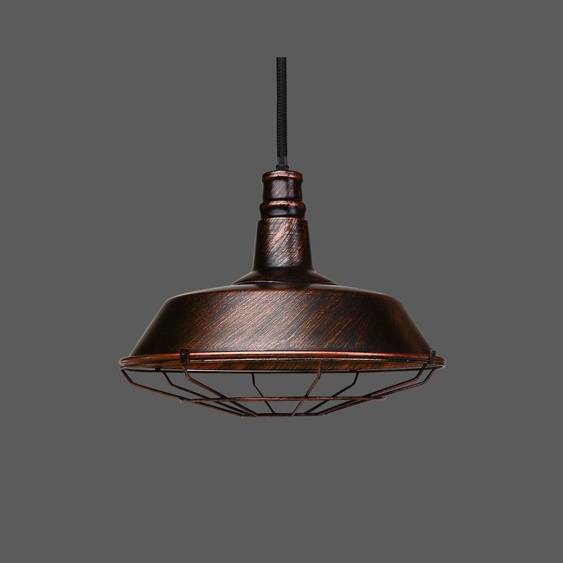 Lámpara Colgante Vintage Cobre Industrial Reja Moderno Led
