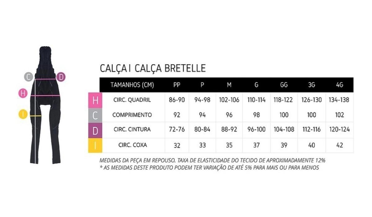 Calça Ert Bretelle Forro Dual Pro Preto Liso Unissex