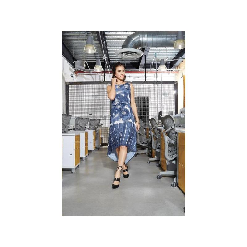 Vestido largo azul multicolor 012346