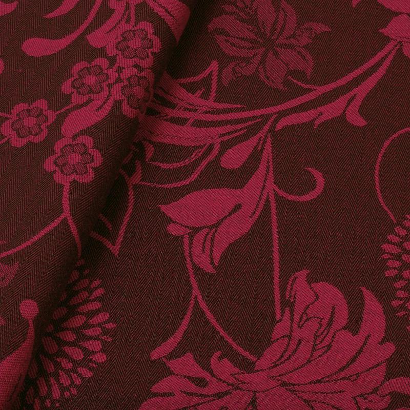 Tecido jacquard floral - cereja/marrom -  Impermeável - Coleção Panamá