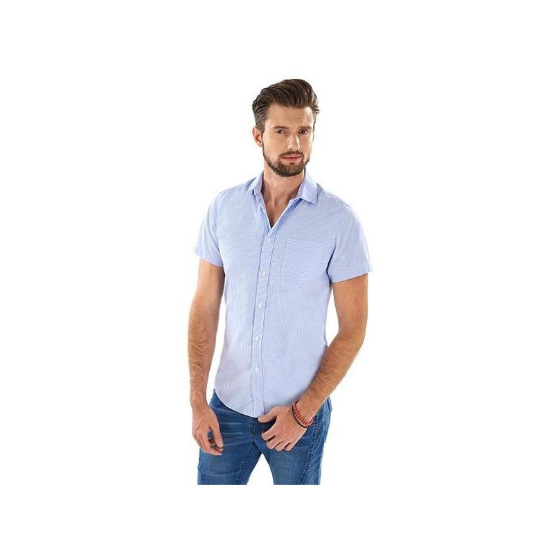 Camisa azul botonadura manga corta 015184