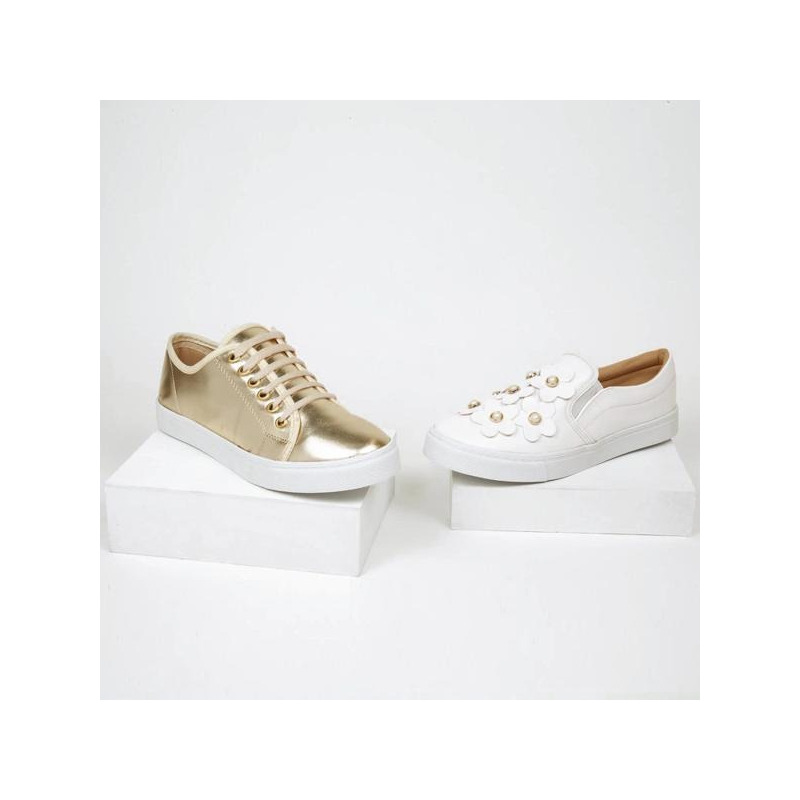 Sneakers dorado y blanco estampados 016557