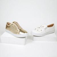 Sneakers dorado y blanco estampados 016557