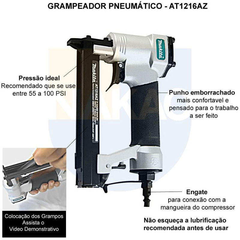 Grampeador Pneumático - AT1216AZ - Makita
