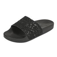 Sandalia piso negra bordada 017481