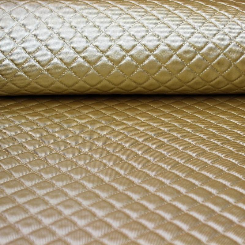 Tecido corino capitonê ouro Larg. 1,40 m